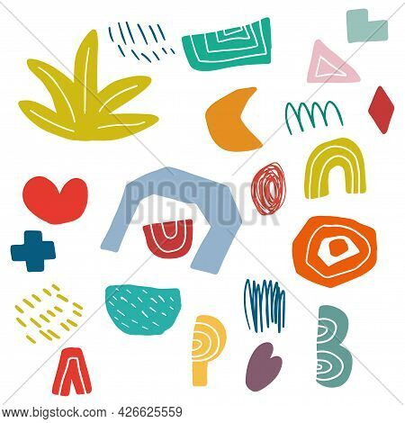 Abstract Different Decorative Shapes Collection. Childlike Style. Heart, Plus, Bush. Geo Shapes.