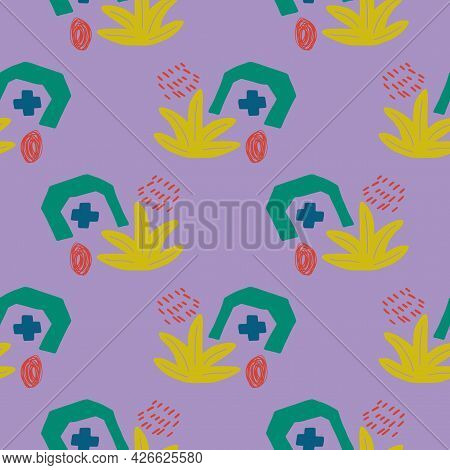 Abstract Memphis Style, Doodle Seamless Pattern With Plus, Geo Shapes, Bush Or Floral Element. Child