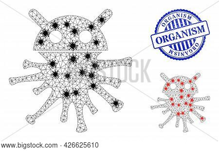 Mesh Polygonal Virus Robot Icons Illustration With Infection Style, And Rubber Blue Round Organism S