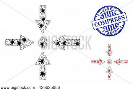 Mesh Polygonal Meeting Point Icons Illustration Designed Using Infection Style, And Scratched Blue R
