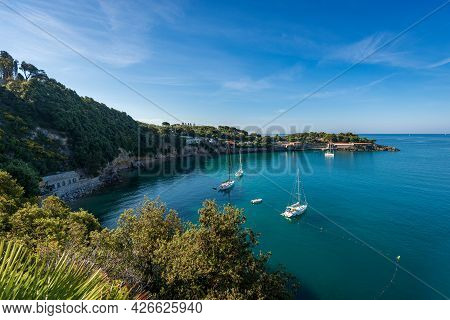 Beautiful Bay And Seascape In The Gulf Of La Spezia In Front Of The Lerici Town With The Headland Ca