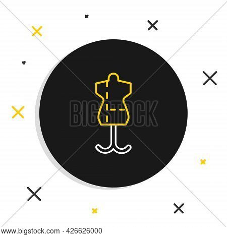Line Mannequin Icon Isolated On White Background. Tailor Dummy. Colorful Outline Concept. Vector