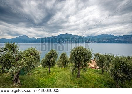 Lago Di Garda. Elevated View Of The Lake Garda With The Lombardy And Veneto Coastline, From The Smal