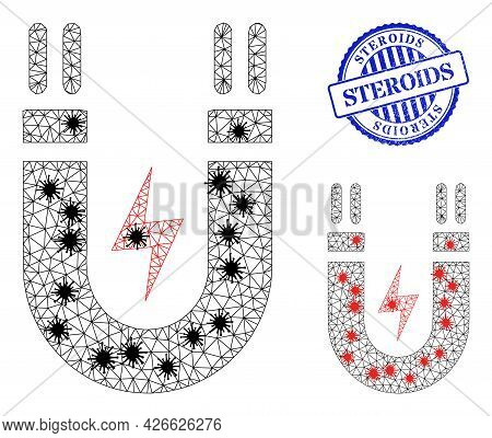 Mesh Polygonal Magnetic Power Symbols Illustration In Lockdown Style, And Grunge Blue Round Steroids