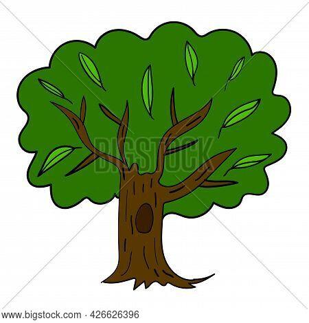 Cartoon Doodle Hand Drawn Tree Isolated On White Background. Childlike Style. Sketch Woodland Icon.