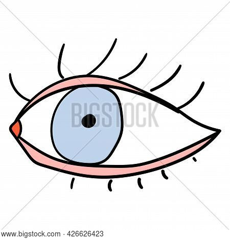 Doodle Childlike Style Eye Icon. Open Thin Line Eye Shapes With Eyelash, Supervision And Searching S