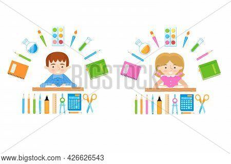 Schoolchild Digital Illustration. Schoolgirl And Schoolboy And School Stationery Supplies. Back To S