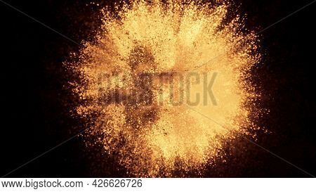 3d Rendering Of Colorful Explosion Of Golden Yellow Particles On A Black Background. Bright Backgrou