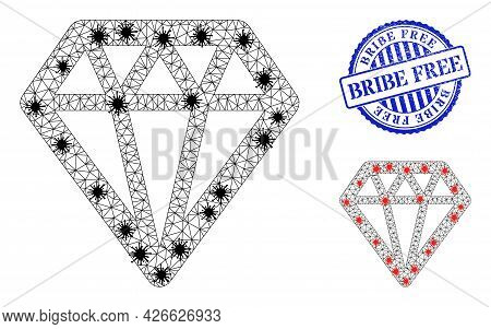Mesh Polygonal Diamond Symbols Illustration With Infection Style, And Grunge Blue Round Bribe Free S