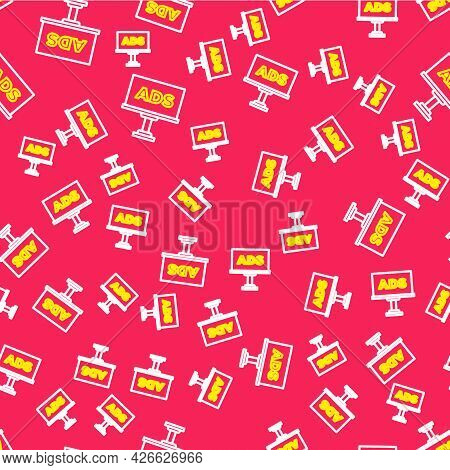 Line Advertising Icon Isolated Seamless Pattern On Red Background. Concept Of Marketing And Promotio
