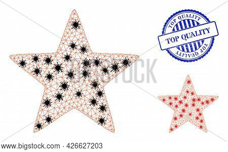 Mesh Polygonal Red Star Symbols Illustration Designed Using Outbreak Style, And Scratched Blue Round