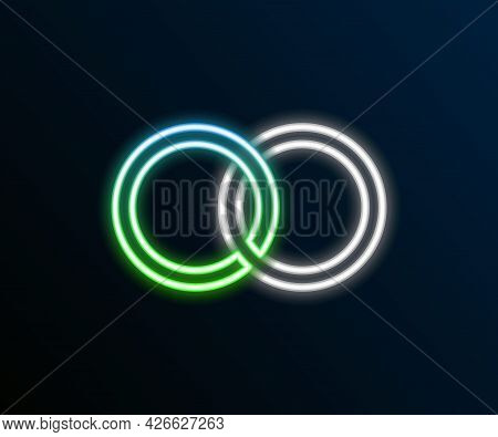 Glowing Neon Line Wedding Rings Icon Isolated On Black Background. Bride And Groom Jewelry Sign. Mar