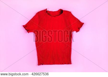 Fashion Flatlay With Red Ribbed Top
