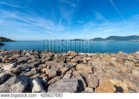 Seascape In The Gulf Of La Spezia View From Lerici Town, On The Horizon Portovenere Or Porto Venere