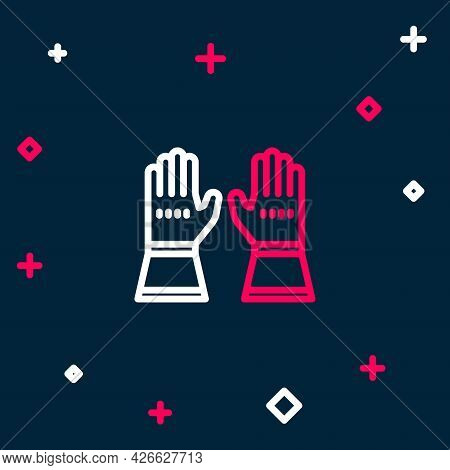 Line Firefighter Gloves Icon Isolated On Blue Background. Protect Gloves Icon. Colorful Outline Conc
