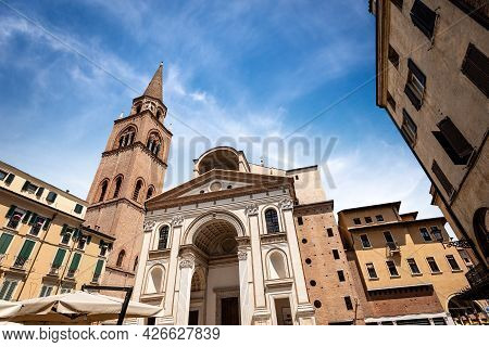 Facade And Bell Tower Of The Basilica And Cathedral Of Sant'andrea (saint Andrew) In Renaissance, Ba