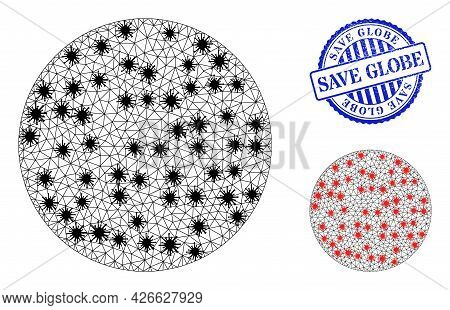 Mesh Polygonal Circle Symbols Illustration In Outbreak Style, And Distress Blue Round Save Globe Sta
