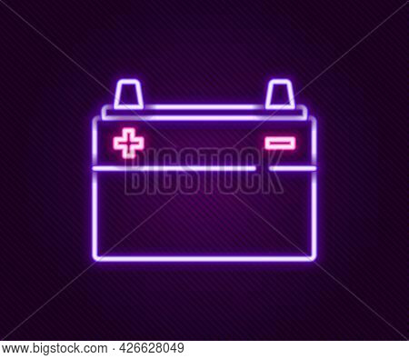 Glowing Neon Line Car Battery Icon Isolated On Black Background. Accumulator Battery Energy Power An