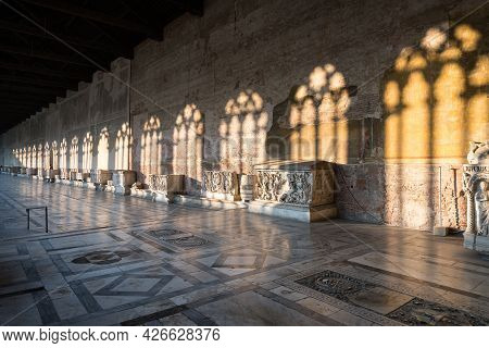 Pisa, Italy-october 21, 2018:strolling Inside The Cemetery Of Pisa, In The Famous Piazza Dei Miracol