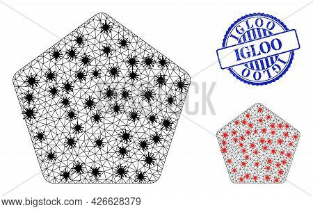 Mesh Polygonal Rounded Pentagon Icons Illustration With Lockdown Style, And Scratched Blue Round Igl