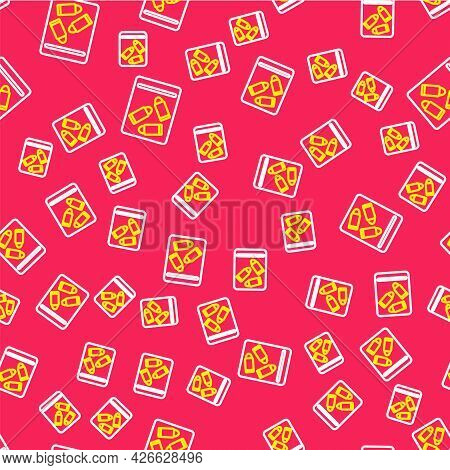 Line Evidence Bag And Bullet Icon Isolated Seamless Pattern On Red Background. Vector