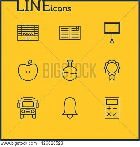 Illustration Of 9 Science Icons Line Style. Editable Set Of Flask, Building, Calculator And Other Ic