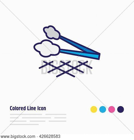 Illustration Of Tongs Icon Colored Line. Beautiful Cutlery Element Also Can Be Used As Barbecue Tool