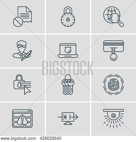 Illustration Of 12 Data Icons Line Style. Editable Set Of Data Sharing, Antivirus, Fingerprint Scann