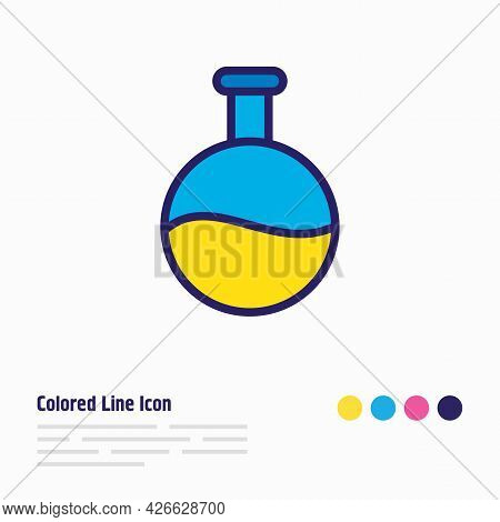 Illustration Of Flask Icon Colored Line. Beautiful Education Element Also Can Be Used As Test Tube I