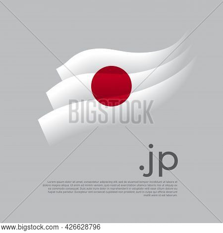 Japan Flag Watercolor. Stripes Colors Of The Japanese Flag On A White Background. Vector Stylized De