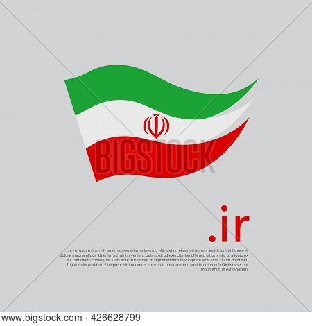 Iran Flag. Stripes Colors Of The Iranian Flag On A White Background. Vector Design National Poster W