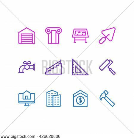 Illustration Of 12 Industry Icons Line Style. Editable Set Of Buy House Online, Building, Water Cran