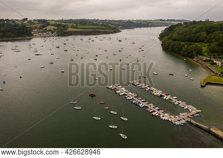 Helford, Cornwall, Uk - June 29, 2021.  Aerial Landscape Of The Helford Passage And Estuary In Cornw