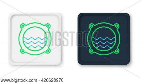 Line Ship Porthole With Rivets And Seascape Outside Icon Isolated On White Background. Colorful Outl