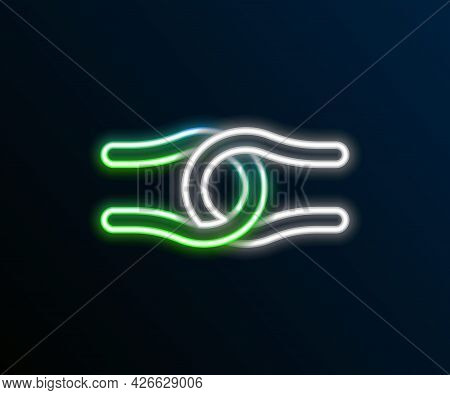 Glowing Neon Line Rope Tied In A Knot Icon Isolated On Black Background. Colorful Outline Concept. V