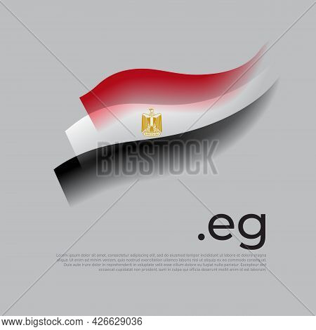Egypt Flag Watercolor. Stripes Colors Of The Egyptian Flag On A White Background. Vector Stylized De