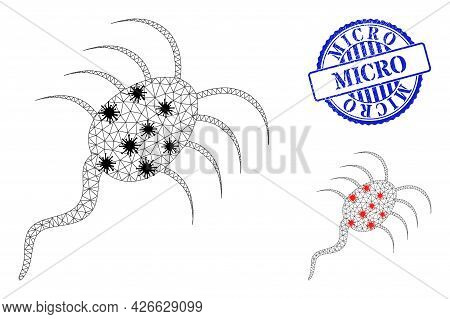 Mesh Polygonal Infection Microbe Icons Illustration In Outbreak Style, And Rubber Blue Round Micro S