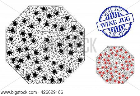Mesh Polygonal Octagon Icons Illustration In Infection Style, And Grunge Blue Round Wine Jug Stamp.