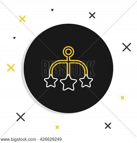 Line Baby Crib Hanging Toys Icon Isolated On White Background. Baby Bed Carousel. Colorful Outline C