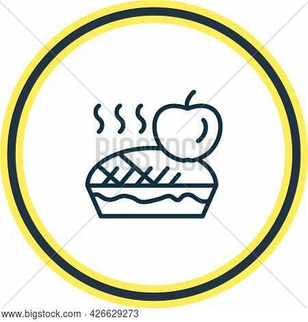 Illustration Of Apple Pie Icon Line. Beautiful Food Element Also Can Be Used As Tart Icon Element.