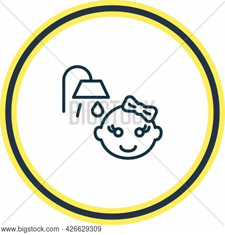 Illustration Of Baby Shower Icon Line. Beautiful Infant Element Also Can Be Used As Bathroom Icon El