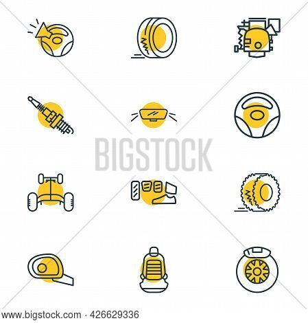 Illustration Of 12 Car Icons Line Style. Editable Set Of Car Chassis, Wheel Rudder, Car Brake Shoe A