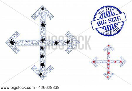 Mesh Polygonal Enlarge Arrows Symbols Illustration With Infection Style, And Scratched Blue Round Bi