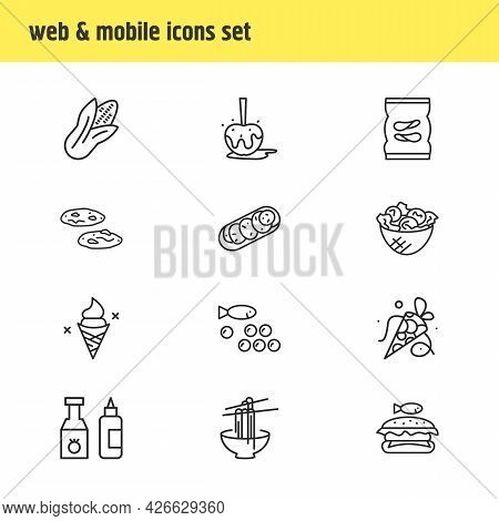 Illustration Of 12 Snacks Icons Line Style. Editable Set Of Corn, Noodles, Coned Ice Cream And Other