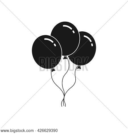 Three Black Balloons Graphic Icon. Balloons Sign Isolated On White Background. Vector Illustration