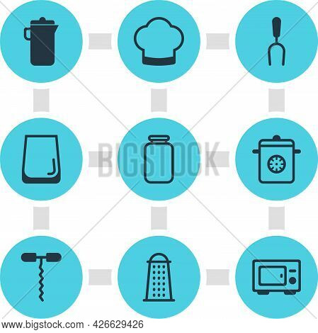 Illustration Of 9 Kitchenware Icons. Editable Set Of Microwave, Carafe, Bbq Fork And Other Icon Elem