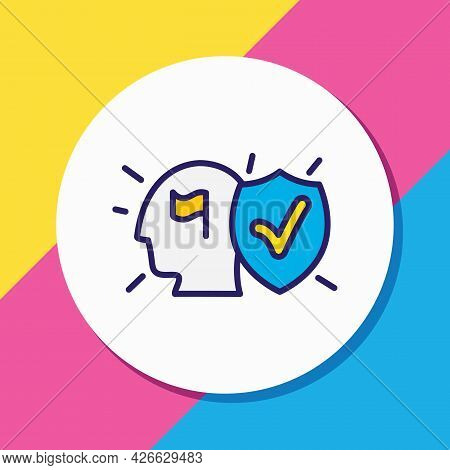 Illustration Of Commitment Icon Colored Line. Beautiful Emoticon Element Also Can Be Used As Committ