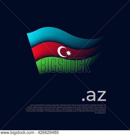 Azerbaijan Flag. Stripes Colors Of The Azerbaijani Flag On A Dark Background. Vector Stylized Design