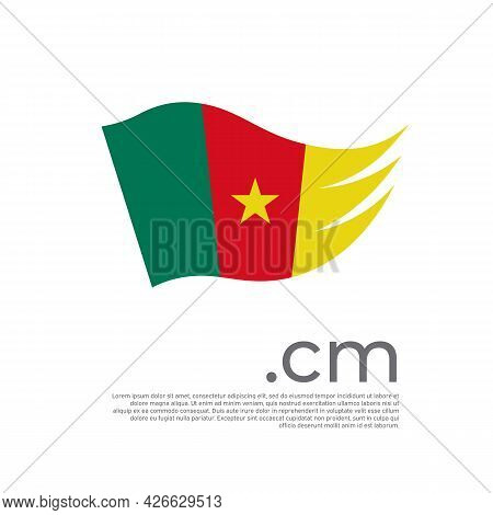 Cameroon Flag. Vector Stylized Design National Poster On A White Background. Cameroon Flag Painted W