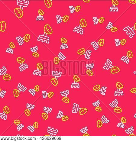 Line Radar Icon Isolated Seamless Pattern On Red Background. Search System. Satellite Sign. Vector